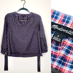 ⚡️Madewell Plaid Blouse with Tie Sleeves   Small